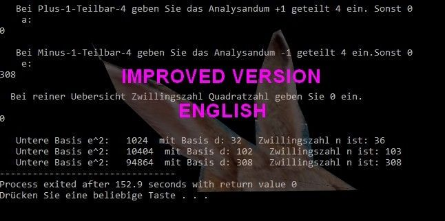 Dev c++ Prog for Factorizing Odd Integers by Twinproducts and Squares IMPROVED VERSION in ENGLISH