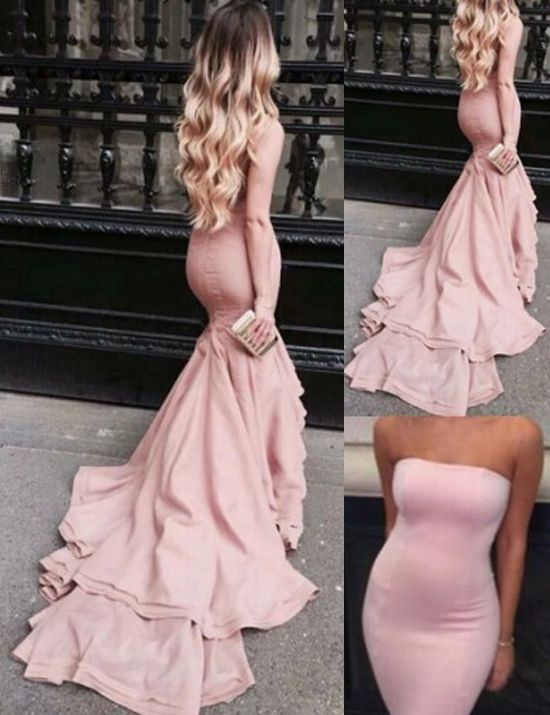 Elegant Strapless Ruffles Sweep Train Mermaid Pink Prom Dress