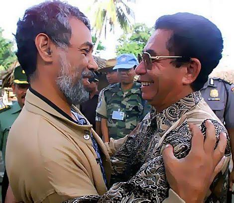 Xanana Gusmao (left) with Joao Tavares, former pro-Jakarta militia commander.
