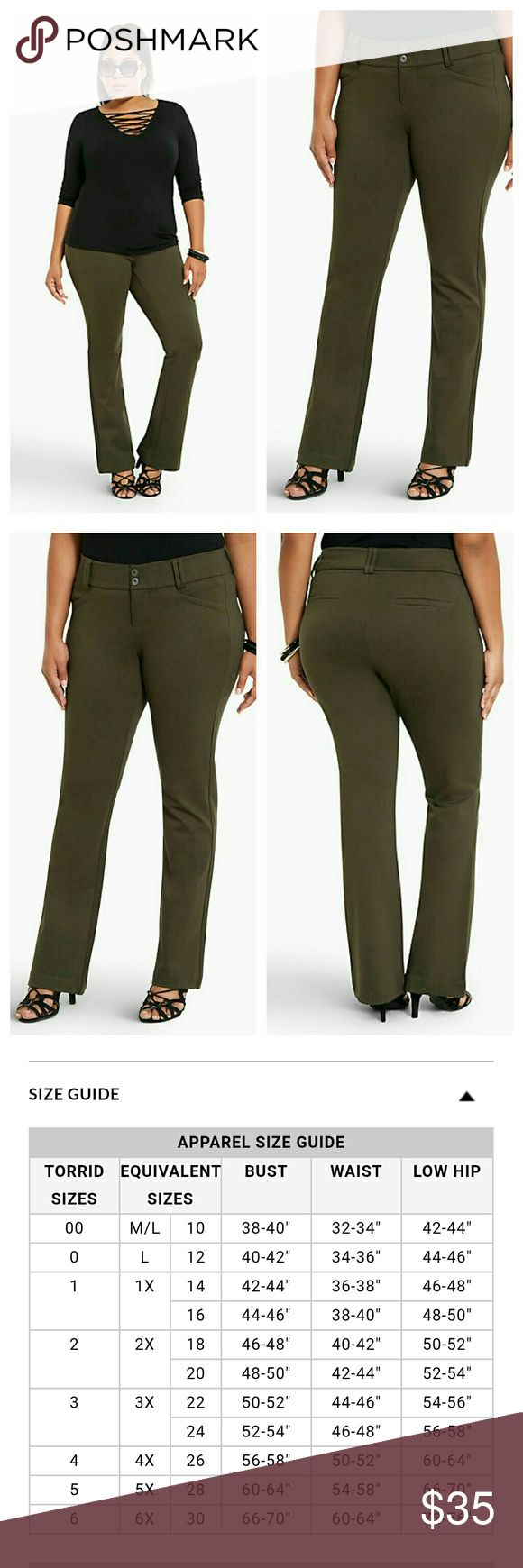 """Torrid Slim Boot Pant - Olive All-Nighter Ponte 18 Brand new!    This Slim Boot pant actually has us excited for work on Monday! The desk-ready style keeps it cool in wrinkle-free, power stretch, olive-colored All-Nighter ponte. We love the slimming, streamlined silhouette of the two-button closure style, not to mention the leg-lengthening slight flare at the knee.  Mid-rise Size 18: 33"""" inseam, 21  1/2"""" leg opening Rayon/nylon/spandexWash cold, line dryImported plus size pantsNoir Pant…"""