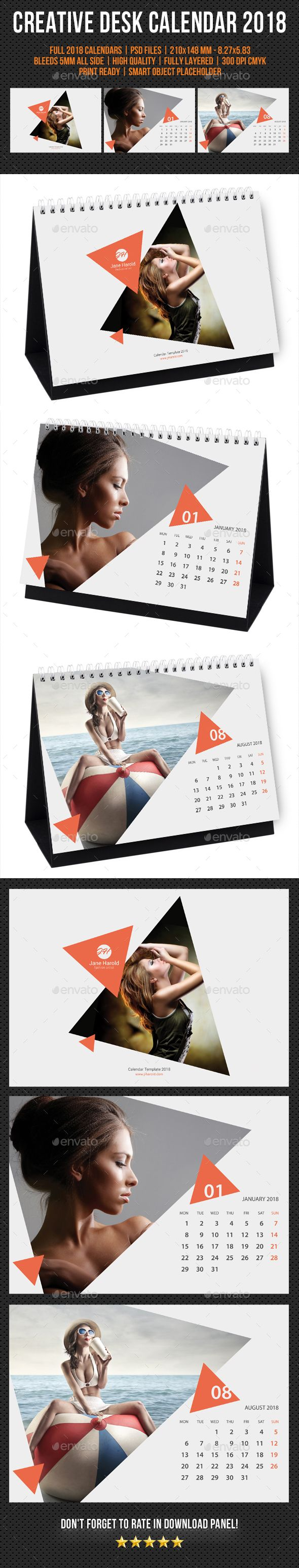 Creative Desk Calendar 2018 Template PSD