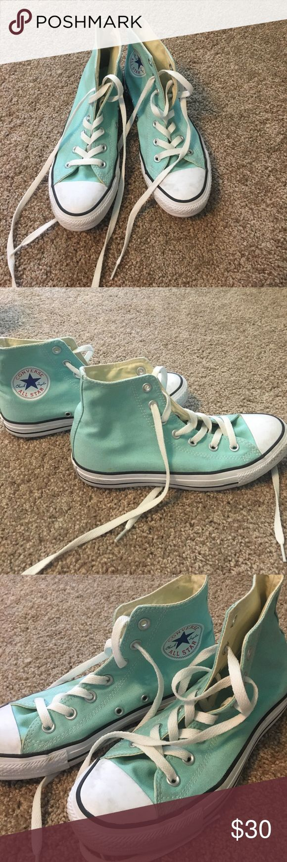 Mint converse mint colored converse all stars hi too, size 8, won't twice Converse Shoes Sneakers