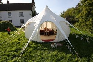The new LotusBelle, a combination of a bell tent and a yurt, offering more space than a bell and easier to transport and erect than a yurt.: Lotusbelle, Handmade Glamping, Burning Man, Beautiful Handmade, Yurts, Glamping Tent, Lotus Belle, Belle Tent, Burningman