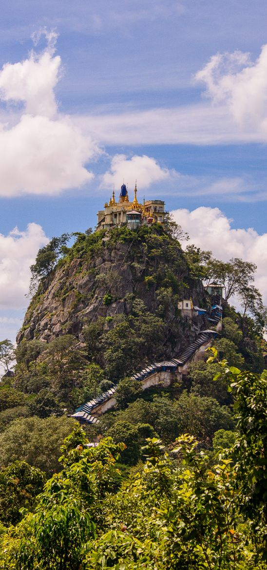 """Mt Popa, Bagan, Mandalay,  Burma """" Southwest of Mount Popa is Taung Kalat (pedestal hill), sheer-sided volcanic plug, which rises 737 metres (2,417 ft) above the sea level. A Buddhist monastery is located at the summit of Taung Kalat. At one time, the Buddhist hermit U Khandi maintained the stairway of 777 steps to the summit of Taung Kalat. Mt Popa is a valcano. """""""