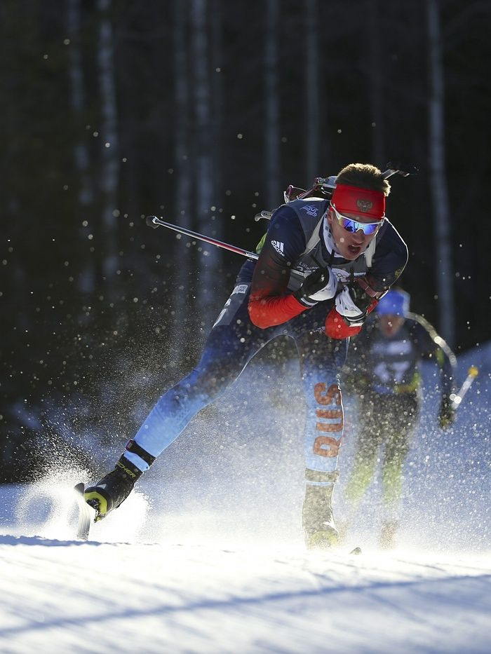 Said Karimulla Khalili of Russia competes in the Biathlon Men's 10km Pursuit race at Birkebeineren Biathlon Stadium