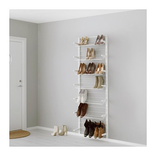 IKEA - ALGOT, Wall upright/shoe organizer, The parts in the ALGOT series can be combined in many different ways and easily adapted to your needs and space.Can also be used in bathrooms and other damp indoor areas.You click the brackets into the ALGOT wall uprights wherever you want to have a shelf or accessory – no tools needed.