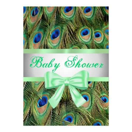 peacock print green bow baby shower invitation