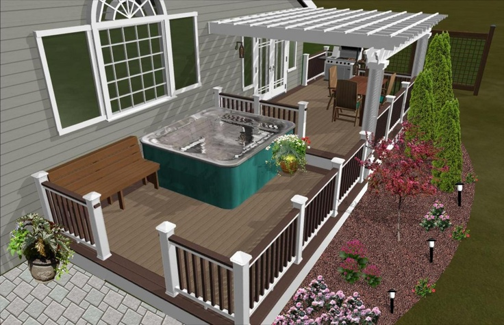 Rendering with hot tub decks pergalas pinterest for Hot tub designs and layouts
