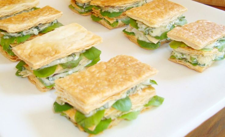 Mille-Feuilles if Baby Spinach, Blue Cheese & Pine Nut Crush