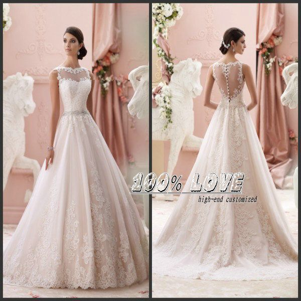 Find More Wedding Dresses Information about Free Shipping Champagne Color Cap Sleeve Lace Appliques Crystal See Through Back Aliexpress Wedding Dresses ,High Quality dress xxxxl,China dress hongkong Suppliers, Cheap dress beige from 100% Love Wedding Dress & Evening Dress Factory on Aliexpress.com