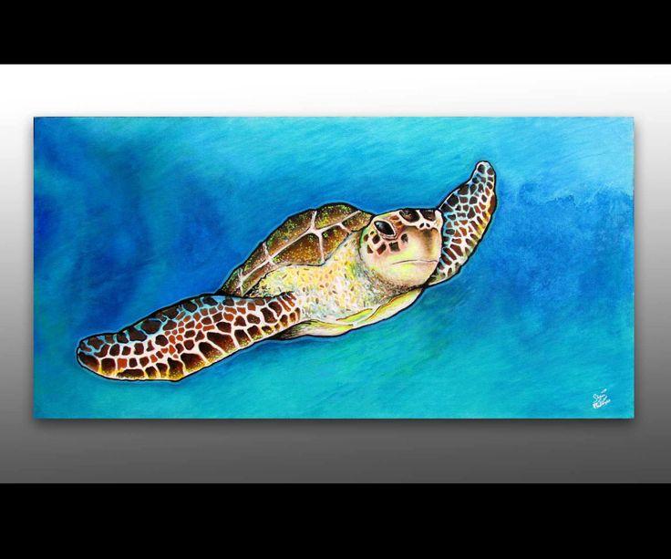 Sea Turtle Decor   Signed Print   Sea Turtle Painting   Sea Life Art   Surf Art   Underwater Art   Turquoise Water   Sea Turtle Art