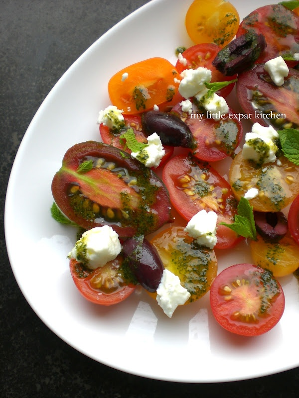Heirloom Tomato Salad with Mint Oil, Feta and Kalamata Olives by My Little Expat Kitchen