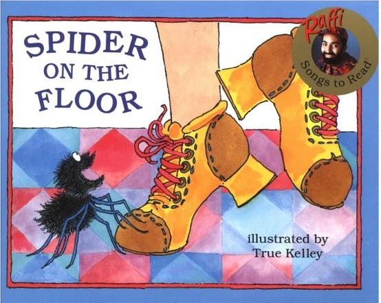 Arachnophobes, beware: there's a spider on the floor! A perfect silly song sure to delight and entertain toddlers everywhere. A busy spider who climbs up an old woman, and along the way, manages to ensnare lots of critters in its web, including a family dog, a snake, an alligator, a skunk, an octopus, an elephant, a moose, and even a dinosaur! Whew!