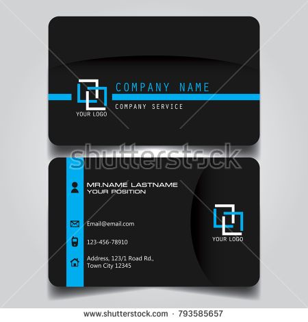 Dark blue name card and business card with creative modern style dark blue name card and business card with creative modern style horizontal standard size vector illustration reheart Choice Image