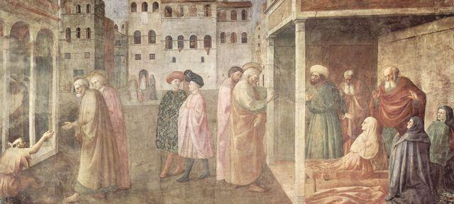 Masaccio: Freskenzyklus der Brancacci-Kapelle in Santa Maria del Carmine in Florenz, Szenen aus dem Leben Petri, Szene: Heilung eines Lahmen durch Petrus und Johannes und Auferstehung der Tabitha, von Masaccio: