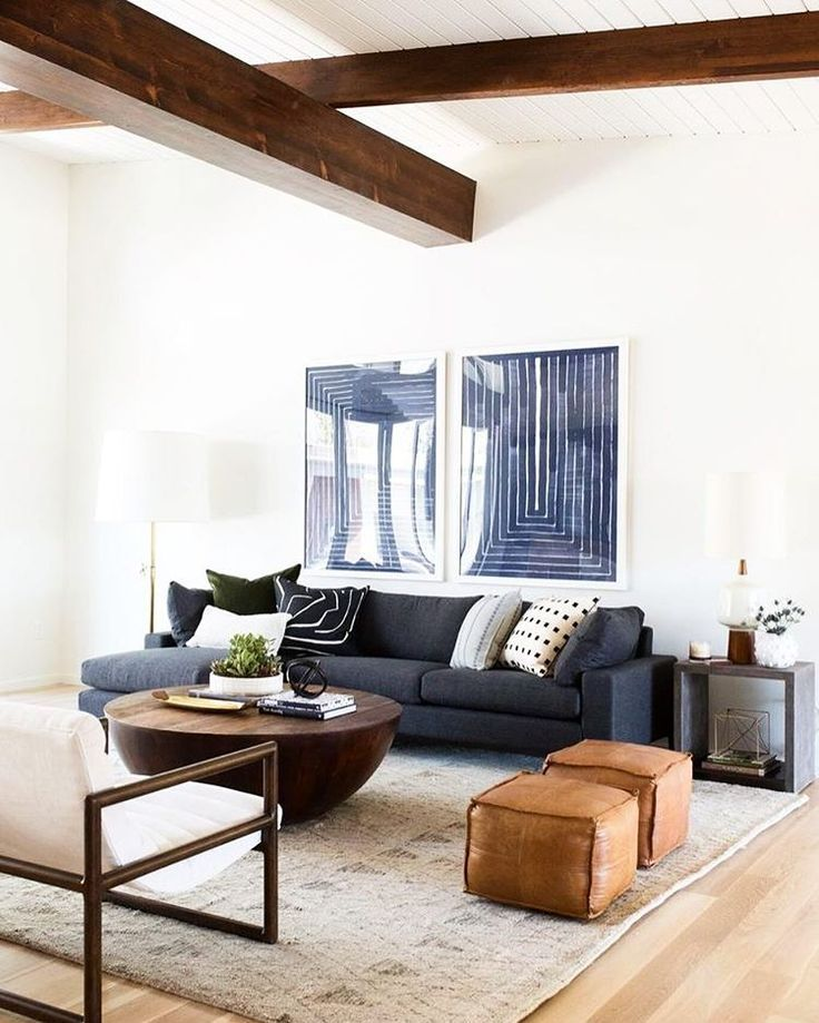 Family Room Clean And Simple Look With Warm White Walls Dark Gray Sectional And Woo Mid Century Modern Living Room Decor Living Room Decor Modern Living Decor