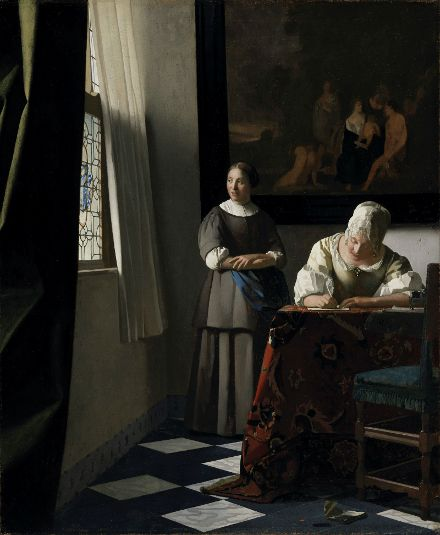 Lady Writing a Letter With her Maid by Johannes Vermeer (Dutch, 1632–1675), ca. 1670-71, National Gallery of Ireland, Dublin
