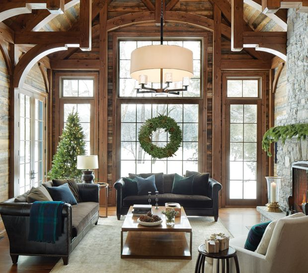 Bushy, unadorned wreaths and bowls of pinecones feel festive but don't look out