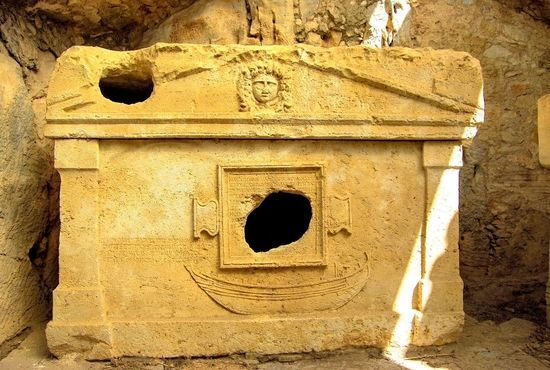 The large stone sarcophagus of Captain Euromos at Olympos, Turkey