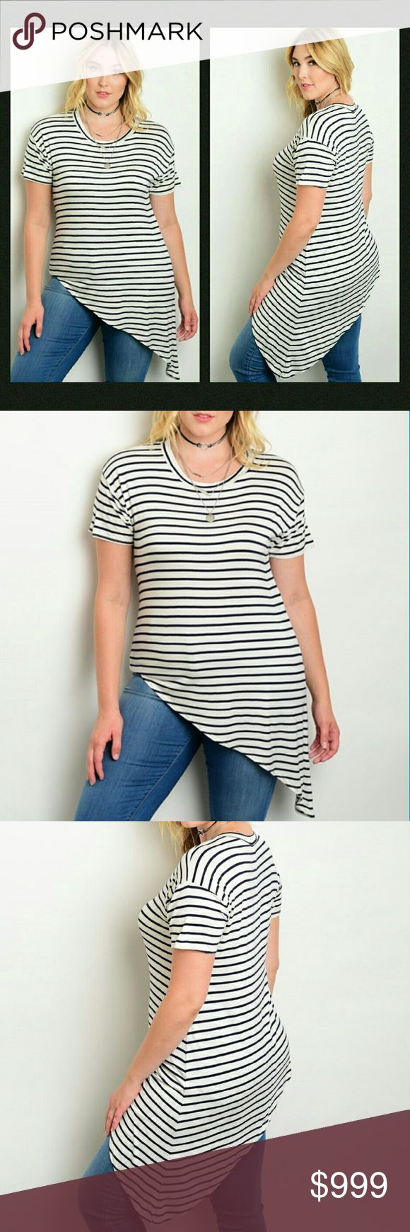 New Plus Size Tee This stripe print top features a diagonal hemline, short sleeves and a round neckline.   Plus sized  If unsure of what size to order, just ask and I can provide measurements!  Material: 95% polyester, 5% spandex    No trades  ✔Reasonable offers considered. (Item #41) Tops Tees - Short Sleeve