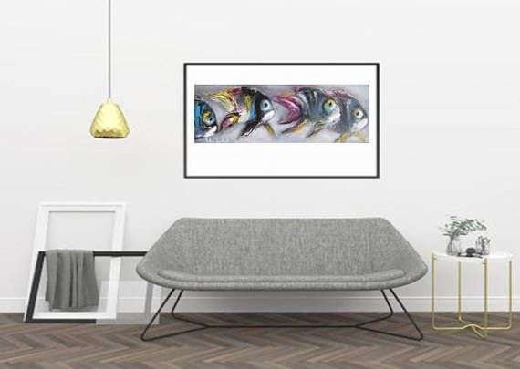 Seascape with Fish tropical fish painting under the sea art