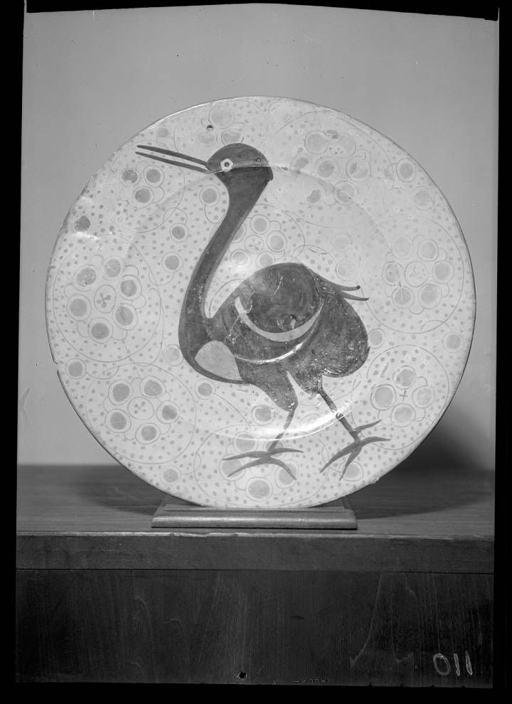 Hispano-Moresque plate, large blue bird. No date.  Metropolitan Museum of Art (New York, N.Y.) Cloisters Archive Collection. #Cloister #bird #ceramics