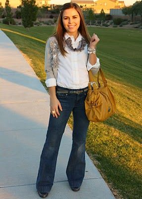 Trouser pants, white button down with rolled sleeves and an embellished cardie. More fall cuteness