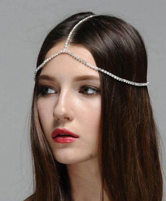 Strass prata cadeia de jóias Boho cabeça cadeia cabelo capacete cadeias cabeças de cristal