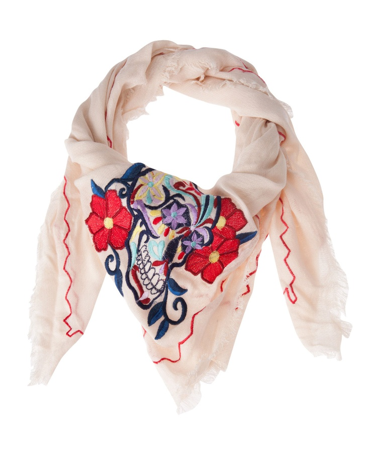 Embroidered skull neck scarf