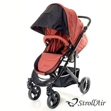 StrollAir CosmoS is a single stroller that features best in class, full recline (independent, adjustable footrest and backrest).at bebelelo #strollair #orangestroller #strollers #babystroller