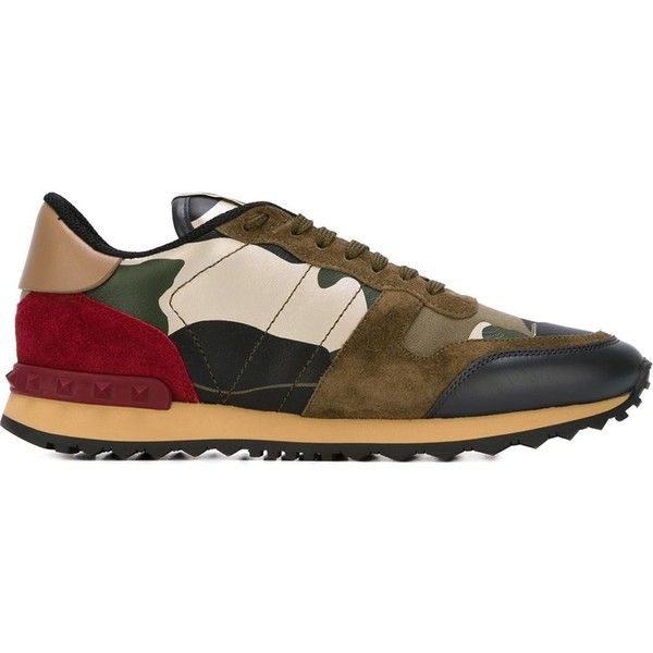 Valentino Garavani panelled sneakers ($835) ❤ liked on Polyvore featuring shoes, sneakers, multi color shoes, valentino shoes, leather trainers, valentino sneakers and colorful shoes