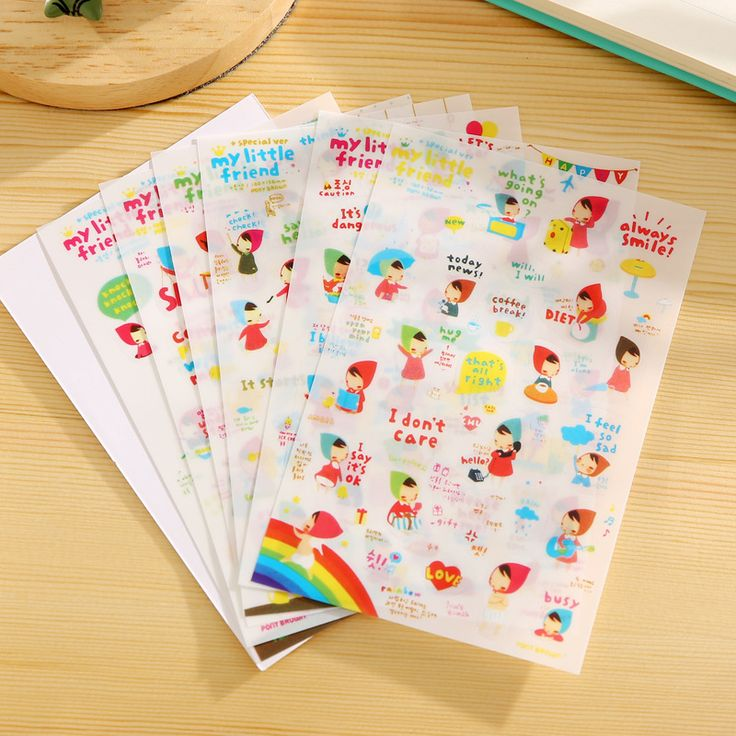 6 Pcs Pvc Cute My Little Friend Stickers Diy Scrapbooking Kawaii Memo Pad Stationery School Supplies Stickers