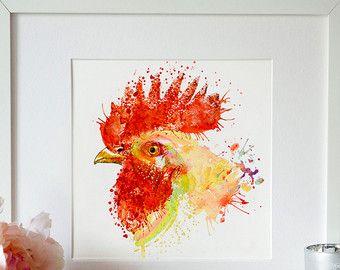 Haan hoofd Aquarel Portret keuken decor vogel kunst Aquarelle boerderij afdrukbare kunst kunst aan de muur haan inrichting keuken art aquarel
