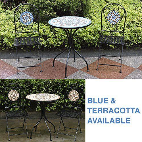 Woodside – Set table de jardin et chaises pliantes – motif mosaïque ...