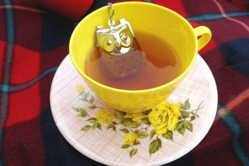 Tea cup: Hot Teas, Teas Infused, Yellow Rose, Teas Time, Teas Cups, Owl Teas, Loo Leaf Teas, Teacups, Teas Parties