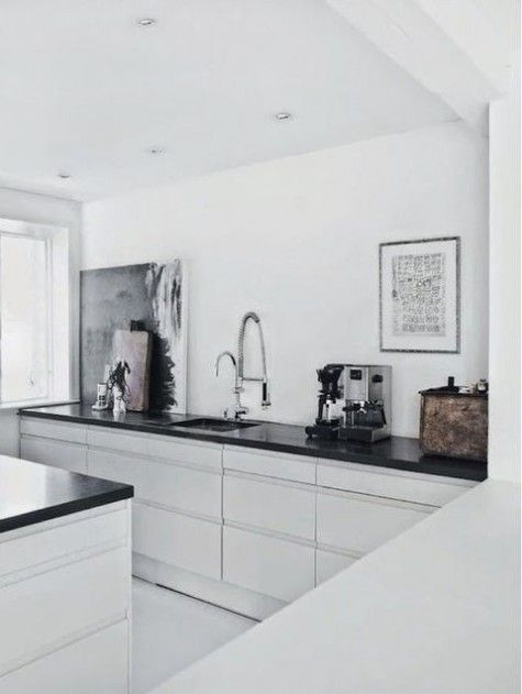 Black Benchtops/White Kitchen Cabinets