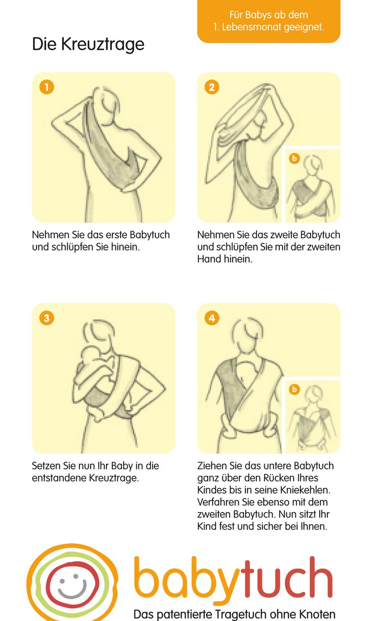 Einfach reinschlüpfen - kein Wickeln, Binden. So einfach gehts mit Babytuch - dem Tragetuch ohne Knoten!