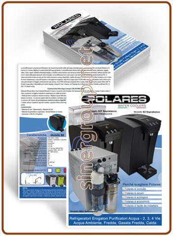 POLARES refrigeratori erogatori acqua volantini stampati A4/A5 carta patinata lucida 170gr.