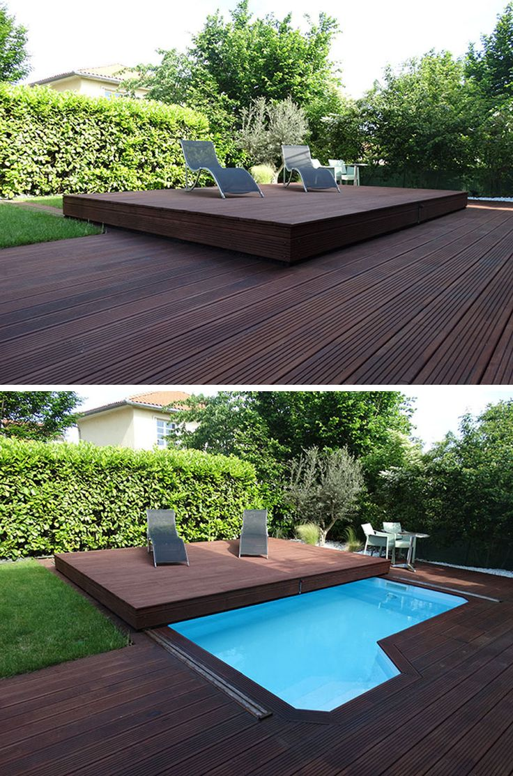 This raised wooden deck in the backyard is actually a pool cover. …