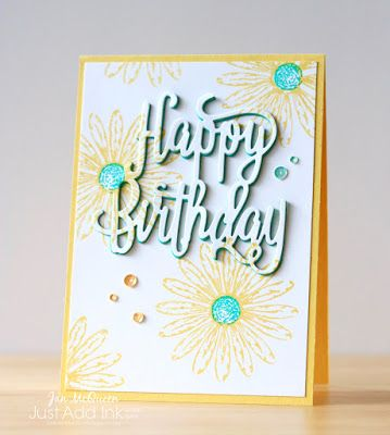 Birthday card using Stampin Up's Daisy Delight for Just Add Ink by Jan McQueen. More info @ www.janscreativecorner.blogspot.com.au