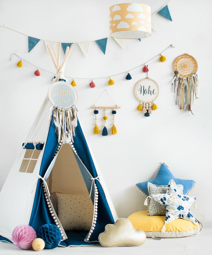 "Set tipi tent and floor-Set Teepee and quilted mat-Set teepee with mat-Set steppdecke und tipi-  ""jeans"" by MoiMili on Etsy"