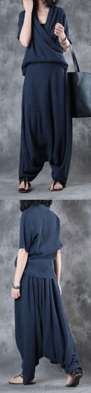 original navy V neck silk t shirt summer casual jumpsuit pants #womensjumpsuitssummer