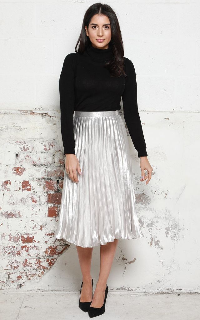 a98164342f343 Metallic Satin Pleated High Waisted Midi Skirt in Silver by One Nation  Clothing