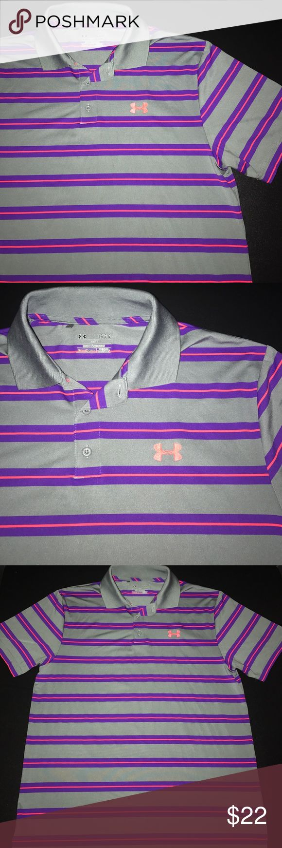 NWOT- Under Armour Men's Heat Gear Loose Fit Polo For sale is a Size Large, NWOT- Under Armour Men's Heat Gear Loose Fit Polo. Polo is gray in color and features purple and fuchsia stripes. A must have for the athlete in your family which can be worn for both sport and evening activity! Under Armour Shirts Polos