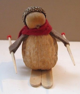 "UNIQUE Handmade Skier Figurine Made from a Walnut & Acorn 2¼"" Tall"
