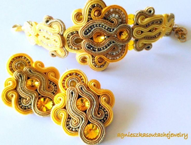 złoty zestaw sutasz - kolczyki i bransoleta