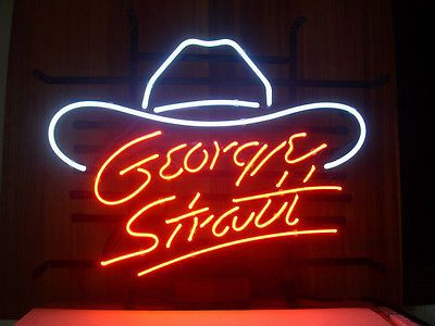 NEW GEORGE STRAIT REAL GLASS NEON LIGHT BEER BAR PUB COUNTRY MUSIC SIGN