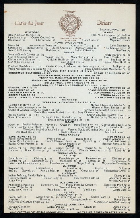 Pinner Says Menu For Thanksgiving Dinner Hotel Manhattan Madison Ave At St New York 1900