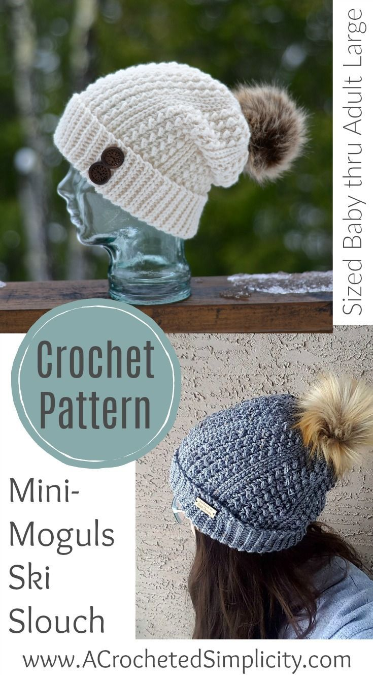 Crochet Pattern - Mini-Moguls Ski Slouch by A Crocheted Simplicity