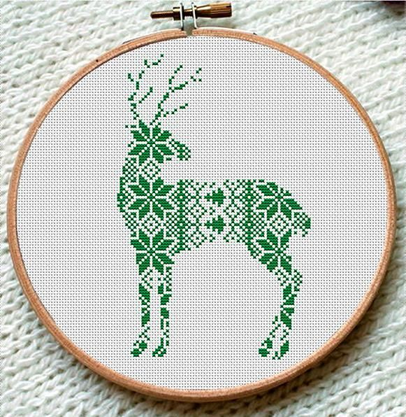 Green Reindeer Cross Stitch Pattern